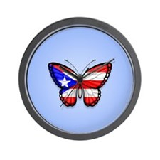 Puerto Rican Flag Butterfly on Blue Wall Clock