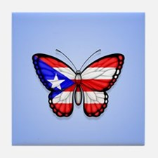 Puerto Rican Flag Butterfly on Blue Tile Coaster