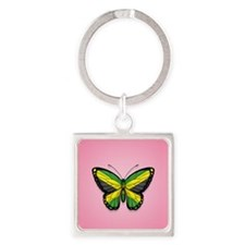 Jamaican Flag Butterfly on Pink Keychains