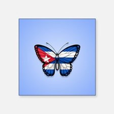 Cuban Flag Butterfly on Blue Sticker