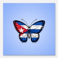 Cuban Flag Butterfly on Blue Square Car Magnet 3""