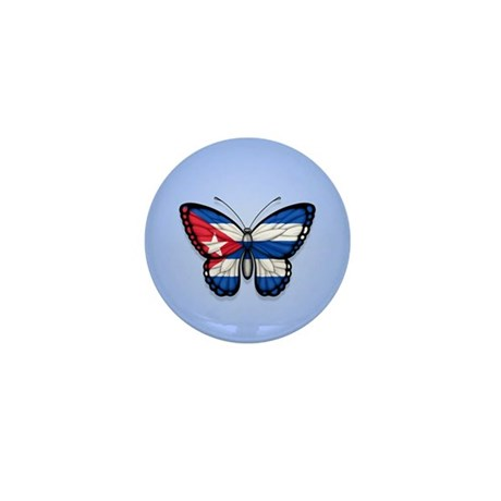 Cuban Flag Butterfly on Blue Mini Button (10 pack)