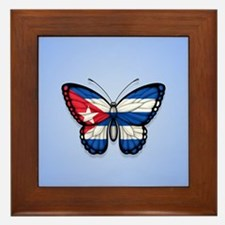 Cuban Flag Butterfly on Blue Framed Tile
