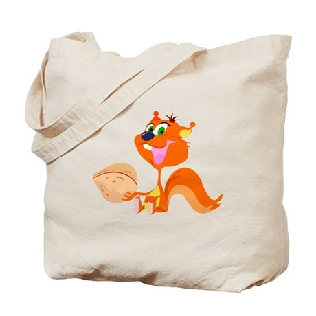 Happy Squirrel with Walnut Tote Bag