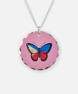 Filipino Flag Butterfly on Pink Necklace