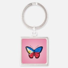 Filipino Flag Butterfly on Pink Keychains
