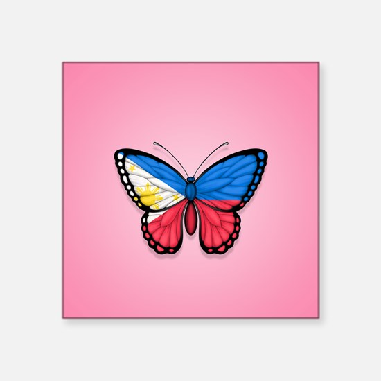 Filipino Flag Butterfly on Pink Sticker