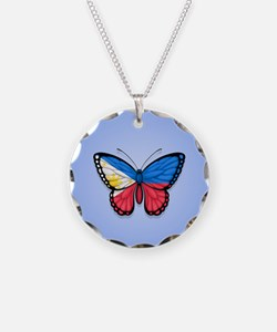 Filipino Flag Butterfly on Blue Necklace Circle Ch