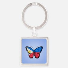 Filipino Flag Butterfly on Blue Keychains