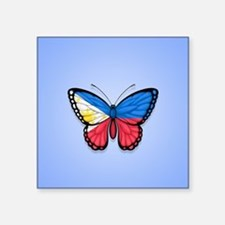 Filipino Flag Butterfly on Blue Sticker