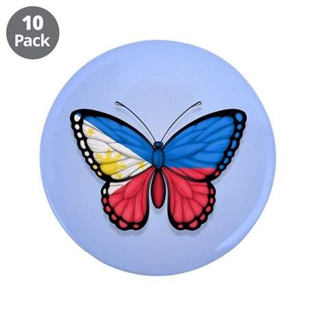 "Filipino Flag Butterfly on Blue 3.5"" Button (10 pa"