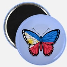 Filipino Flag Butterfly on Blue Magnets