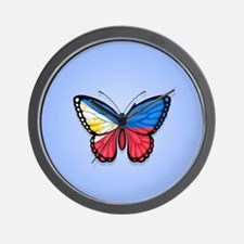 Filipino Flag Butterfly on Blue Wall Clock