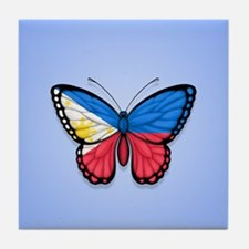 Filipino Flag Butterfly on Blue Tile Coaster