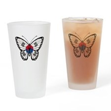 South Korean Flag Butterfly Drinking Glass