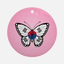 South Korean Flag Butterfly on Pink Ornament (Roun