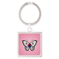 South Korean Flag Butterfly on Pink Keychains