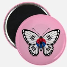 South Korean Flag Butterfly on Pink Magnets