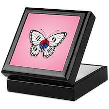South Korean Flag Butterfly on Pink Keepsake Box