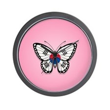 South Korean Flag Butterfly on Pink Wall Clock