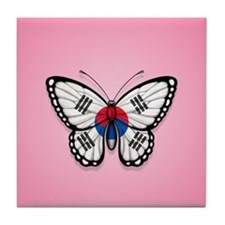South Korean Flag Butterfly on Pink Tile Coaster
