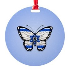 Israeli Flag Butterfly on Blue Ornament