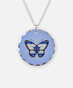 Israeli Flag Butterfly on Blue Necklace