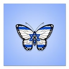 Israeli Flag Butterfly on Blue Square Car Magnet 3
