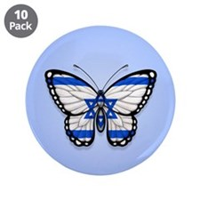 "Israeli Flag Butterfly on Blue 3.5"" Button (10 pac"