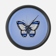 Israeli Flag Butterfly on Blue Large Wall Clock