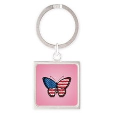 American Flag Butterfly on Pink Keychains