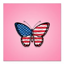 American Flag Butterfly on Pink Square Car Magnet