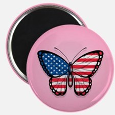 American Flag Butterfly on Pink Magnets