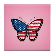 American Flag Butterfly on Pink Tile Coaster