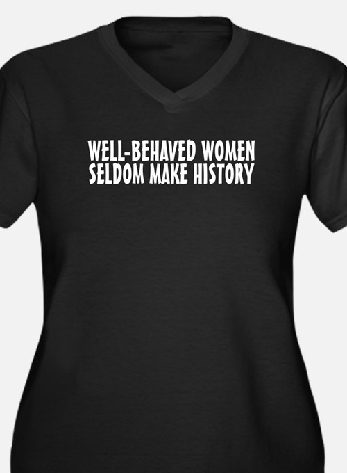 Well-behaved women Women's Plus Size V-Neck Dark T