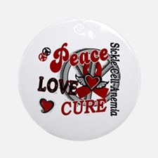 Sickle Cell Anemia PeaceLoveCure2 Ornament (Round)