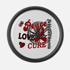 Sickle Cell Anemia PeaceLoveCure2 Large Wall Clock