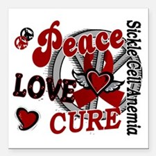 """Sickle Cell Anemia Peace Square Car Magnet 3"""" x 3"""""""