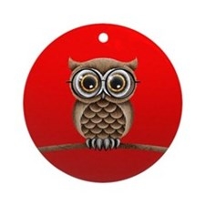 Cute Fluffy Brown Owl with Reading Glasses on Red