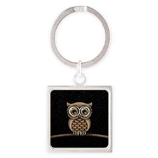 Cute Fluffy Brown Owl with Reading Glasses Stars K