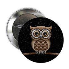 Cute Fluffy Brown Owl with Reading Glasses Stars 2