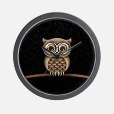 Cute Fluffy Brown Owl with Reading Glasses Stars W