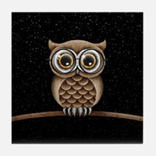 Cute Fluffy Brown Owl with Reading Glasses Stars T