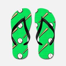 Neon Green Baseball Pattern Flip Flops