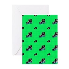 Neon Green Hockey Pattern Greeting Cards