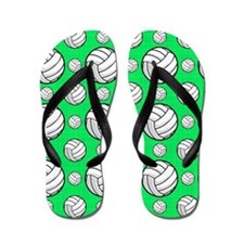Neon Green Volleyball Pattern Flip Flops