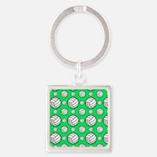 Neon Green Volleyball Pattern Keychains