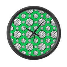 Neon Green Volleyball Pattern Large Wall Clock