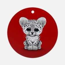Cute Baby Snow Leopard Cub on Red Ornament (Round)