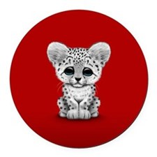 Cute Baby Snow Leopard Cub on Red Round Car Magnet